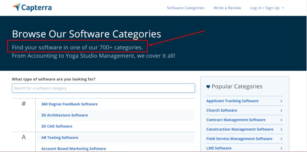 number of software categories on Capterra