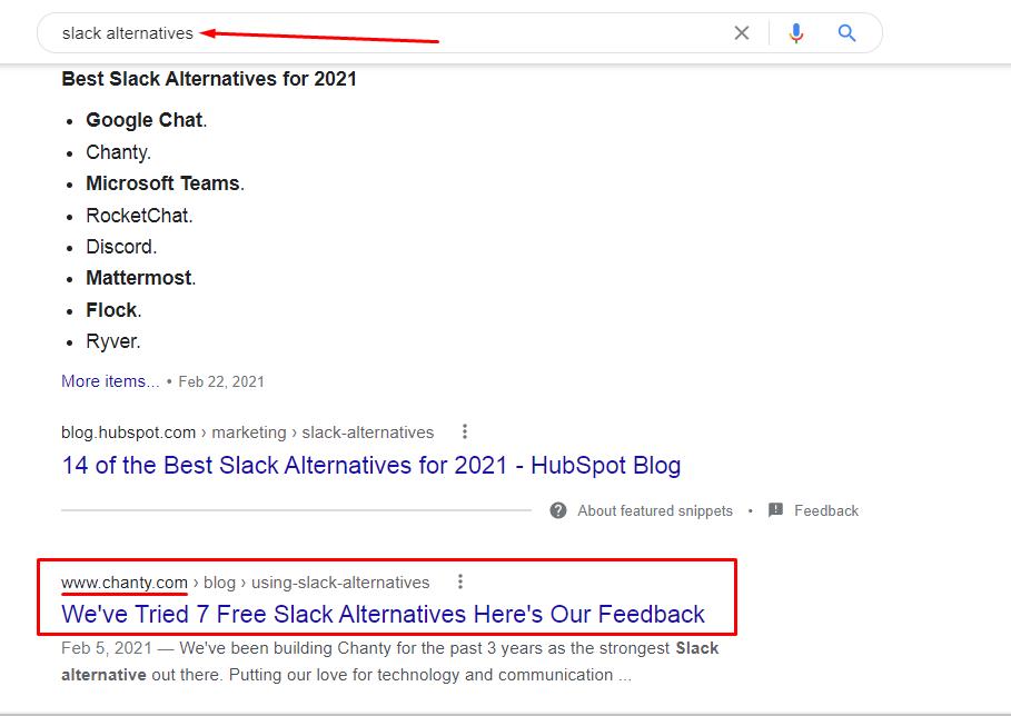 Slack  alternatives Google search