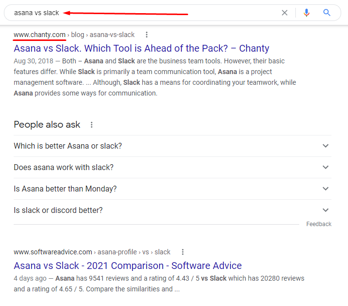 Asana vs Slack Google search