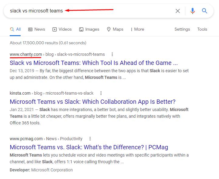 Slack vs Microsoft teams Google search