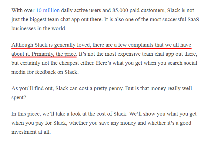 Chanty Slack pricing page example