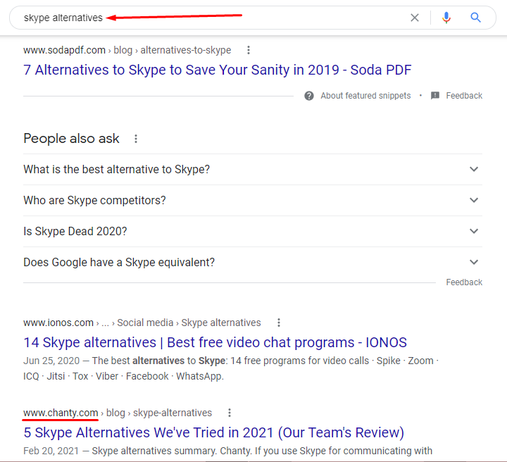 Skype alternatives Google search