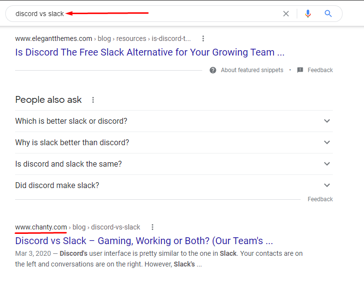 Discord vs Slack Google search