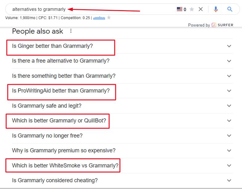Google PAA box example