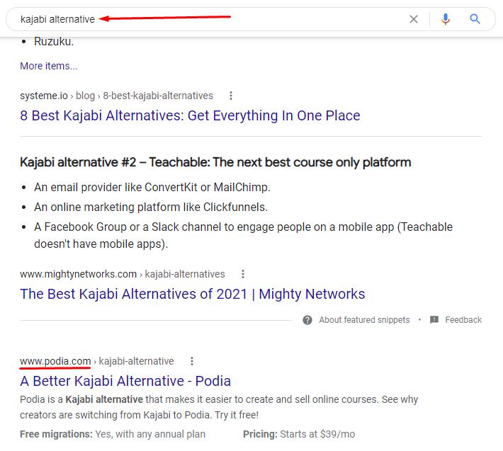 Kajabi alternative Google search