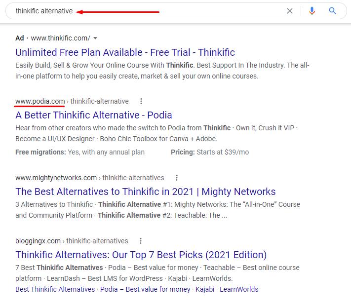 Thinkific alternative Google search