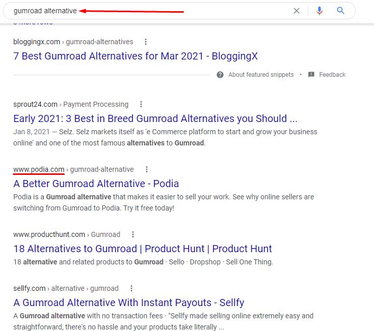 Gumroad alternative Google search