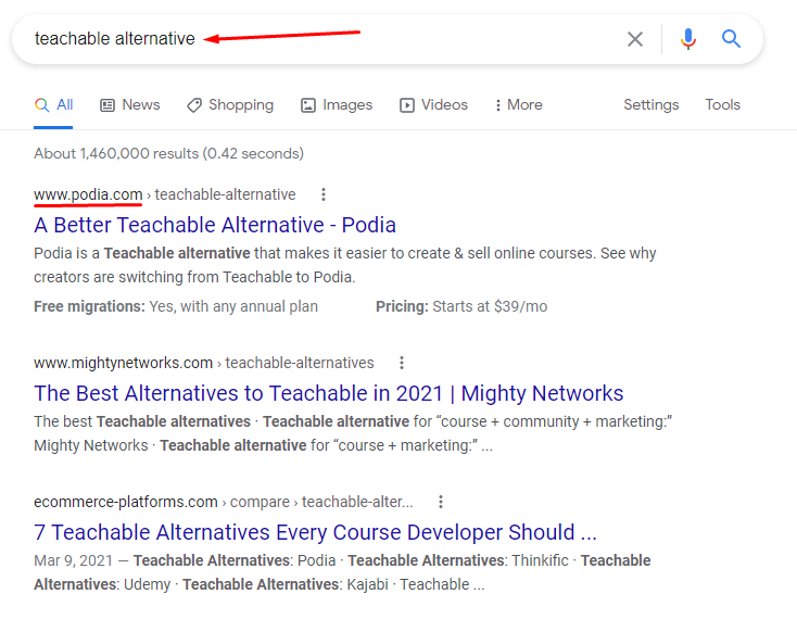 Teachable alternative Google search