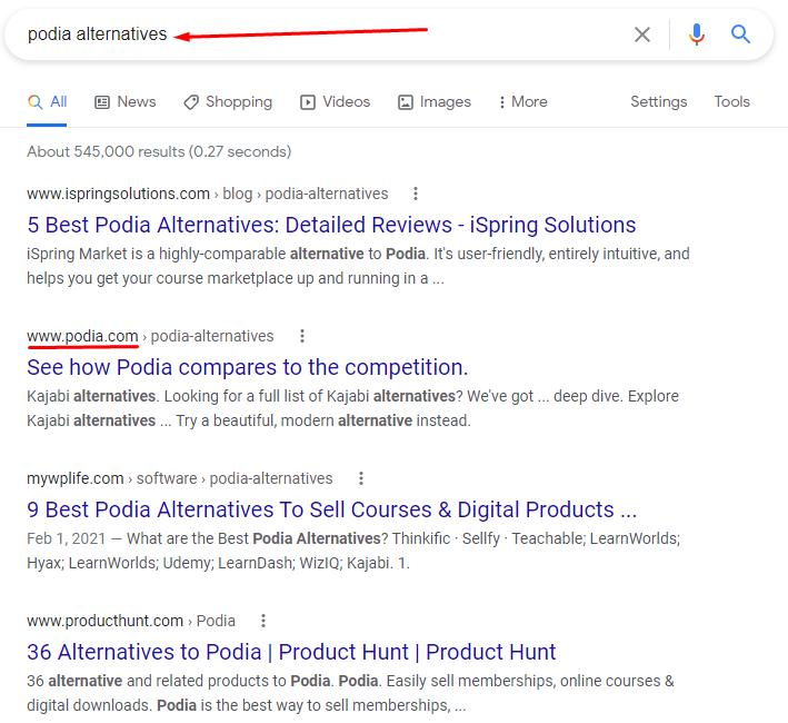 Podia alternatives Google search