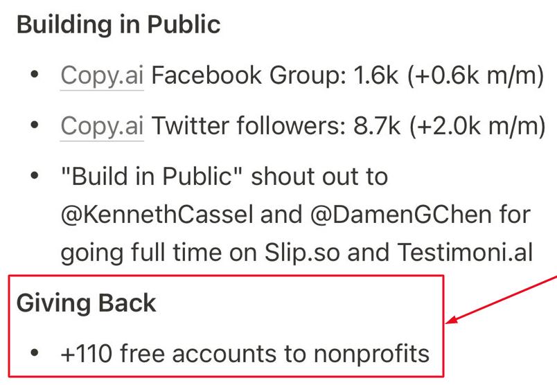 Copy AI free access to non-profits