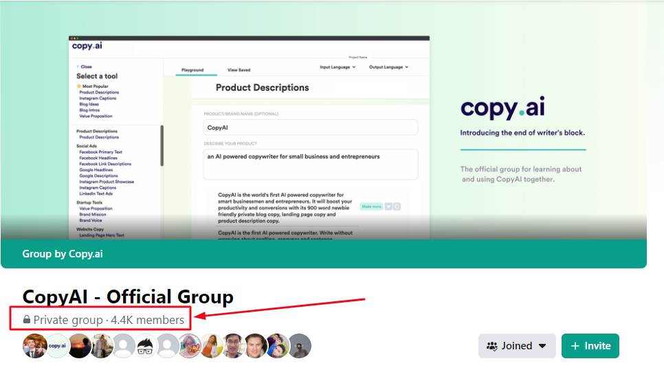 Copy AI Facebook group