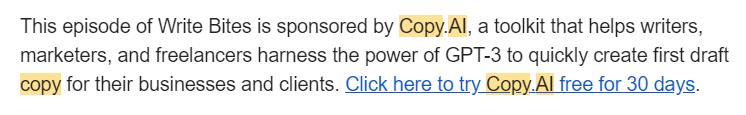 Jacob mentioning Copy AI as sponsors