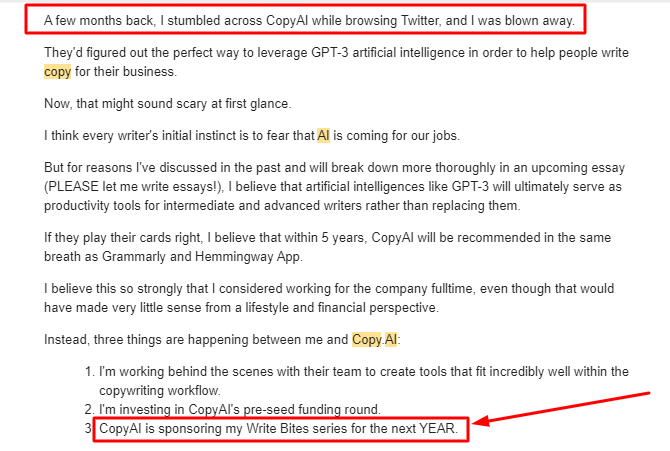 Copy AI sponsors Write Bites