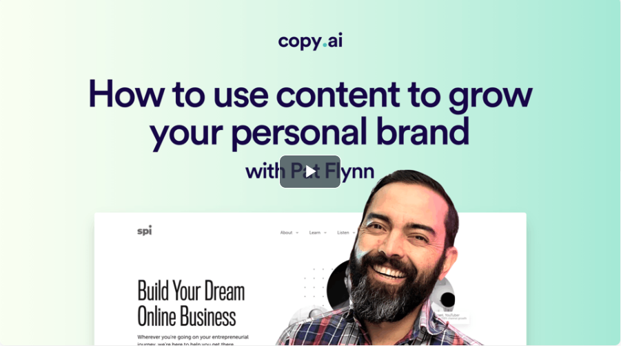 Copy AI's webinar with Pat Flynn